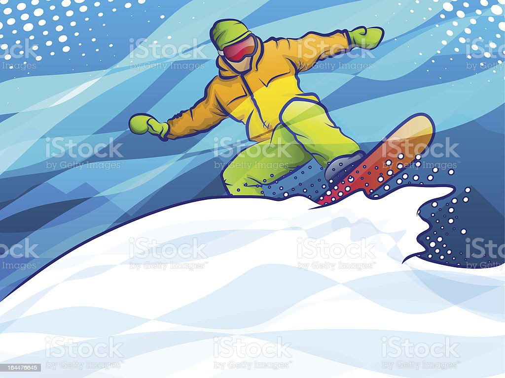 Snow boarder making a jump. EPS 10 format with transparencies.