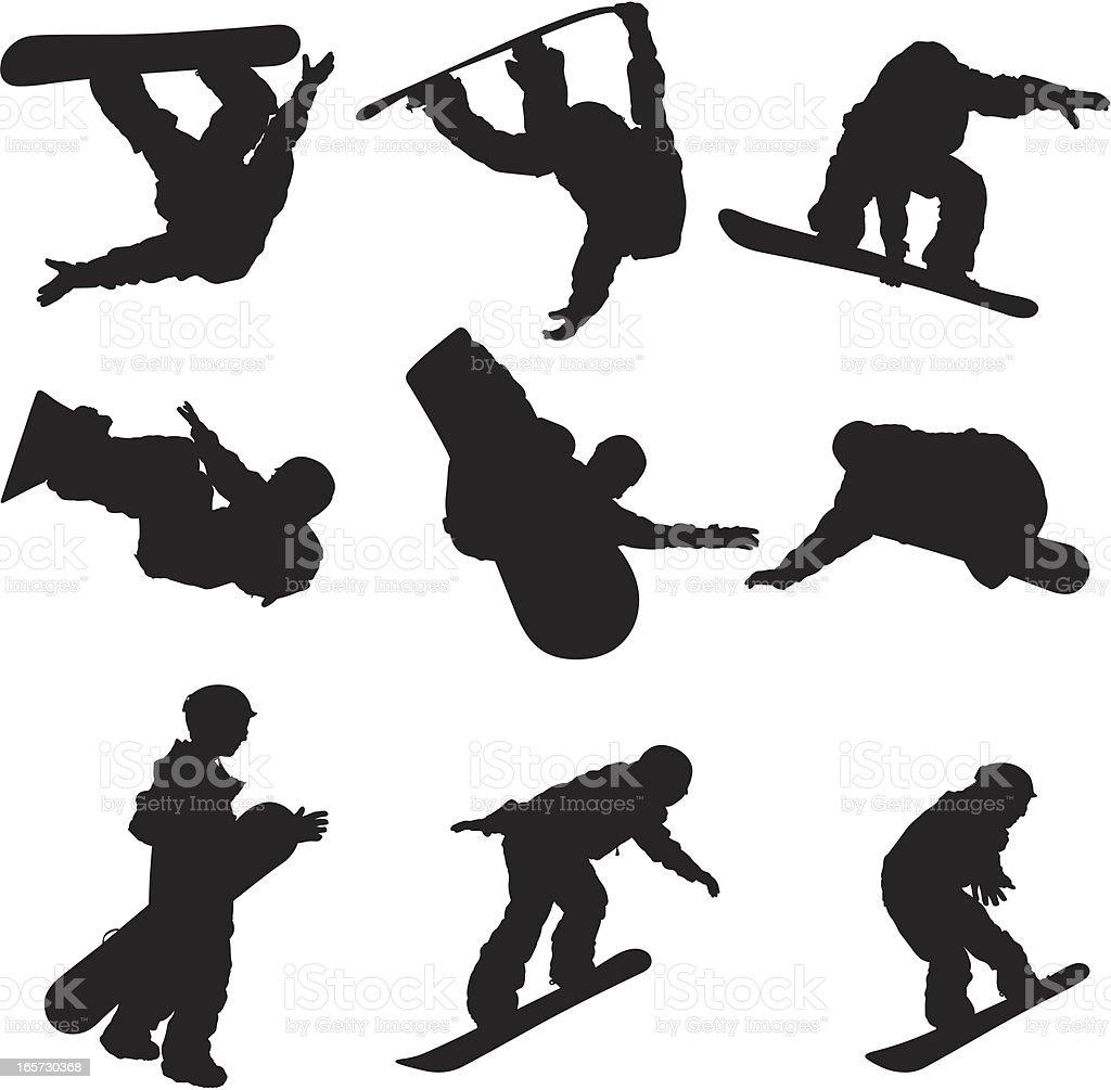Snowboarding sick tricks vector art illustration