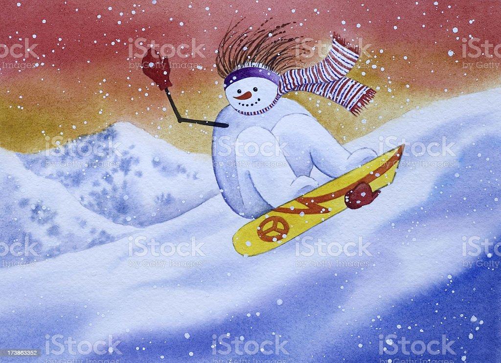 Snowboarding Snowman vector art illustration