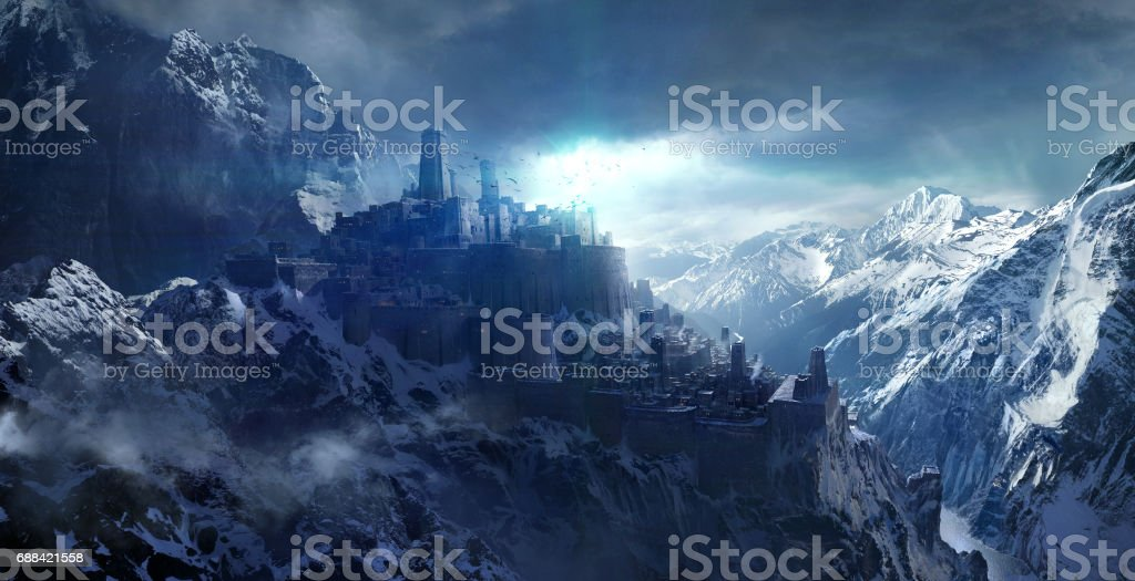 Snow-capped mountains between the castle. vector art illustration