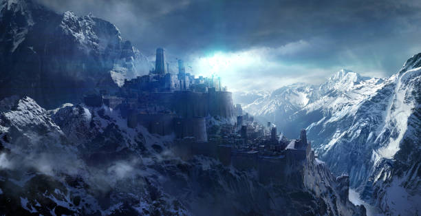 Snow-capped mountains between the castle. Snow-capped mountains between the castle. dreamlike stock illustrations