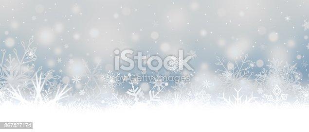 istock Snowfall. Snowflakes. Christmas banner with snowflakes. 867527174
