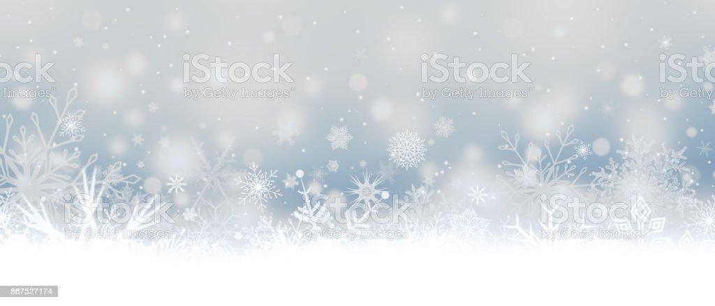 Queda de neve. Flocos de neve. Banner de Natal com flocos de neve. - ilustração de arte em vetor