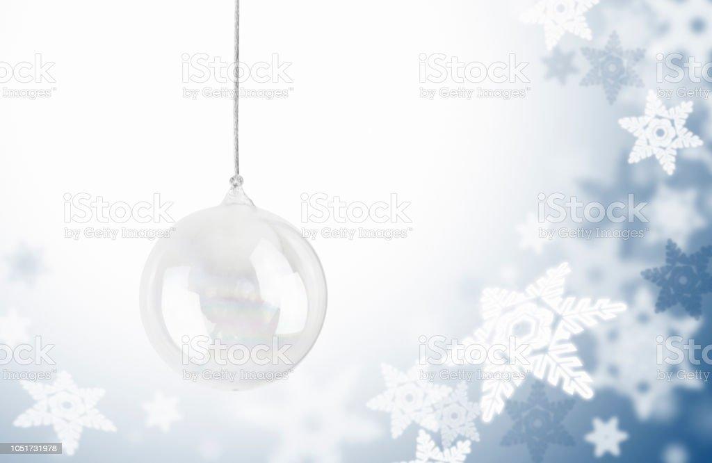 Schneeflocke Hintergrund Mit Glas Christbaumschmuck Stock Vektor Art