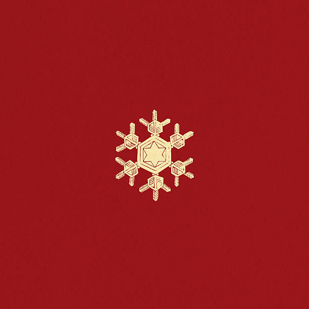 Snowflake on red textured background vector art illustration