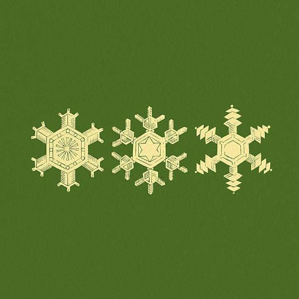 Snowflakes on green textured background vector art illustration