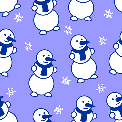 Snowman and snowflakes. Christmas seamless pattern.