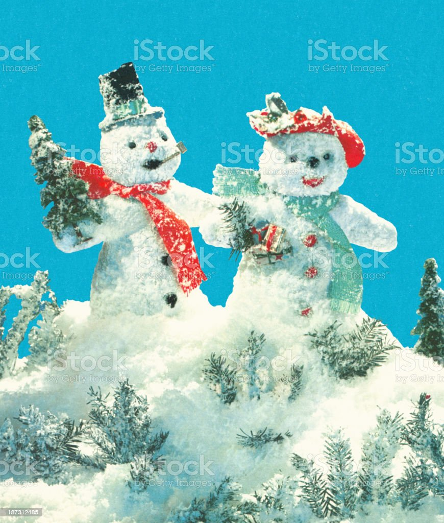 Snowman Couple vector art illustration