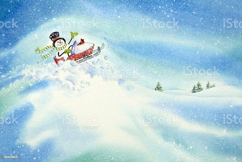 Snowman Driving A Snowmobile vector art illustration