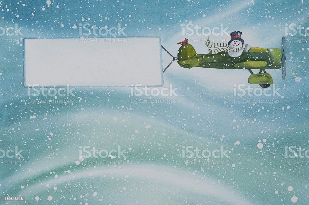 Snowman Flying an Airplane with a Blank Banner royalty-free snowman flying an airplane with a blank banner stock vector art & more images of airplane