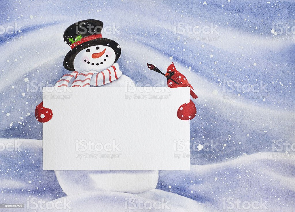 Snowman Holding a Blank Sign royalty-free stock vector art