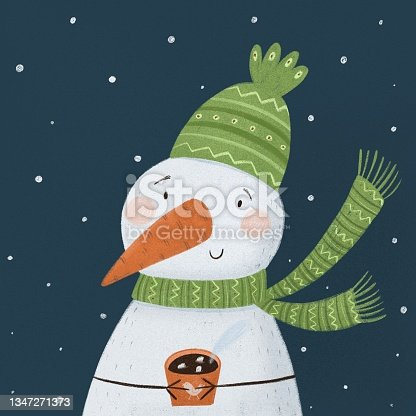 istock snowman in a green hat and scarf with a mug of tea, coffee, grog, mulled wine. winter concept art 1347271373