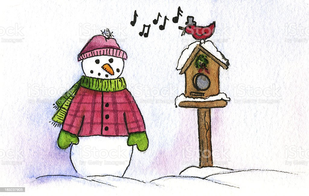 Snowman in Plaid Coat with Singing Bird royalty-free stock vector art