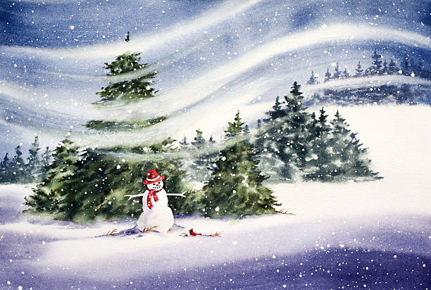 Snowman In The Meadow vector art illustration