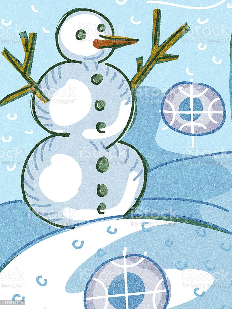 snowman in the snow royalty-free stock vector art