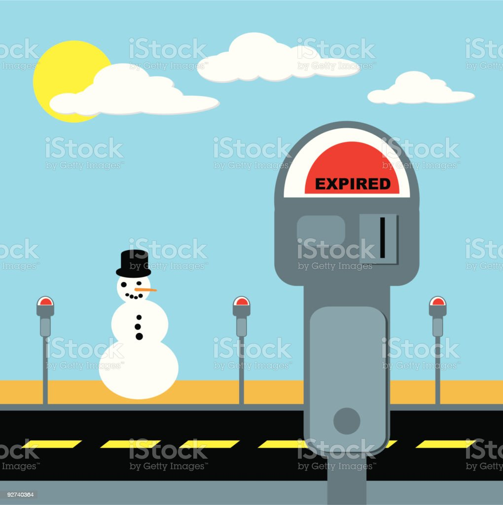 Snowman in the Sun (Vector Illustration) vector art illustration