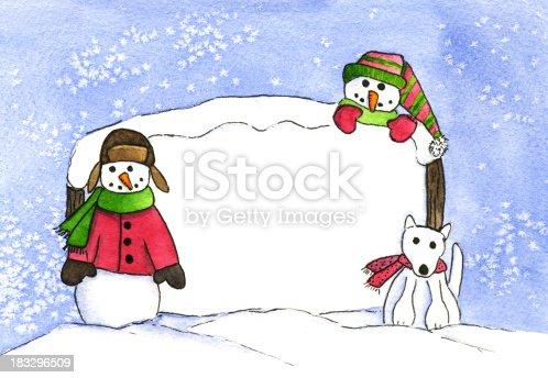 istock Snowman kids with Husky 183296509