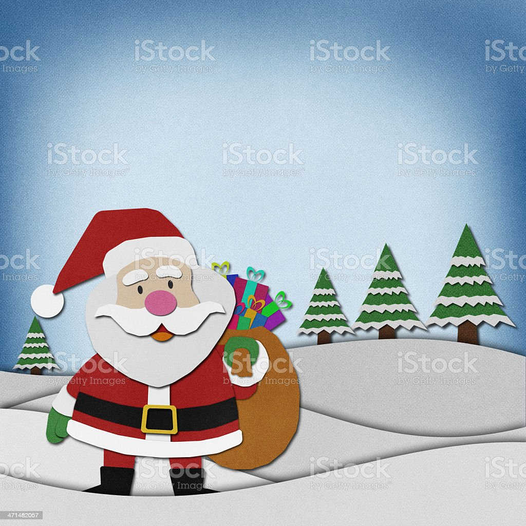 Snowman recycled papercraft on paper background. royalty-free stock vector art