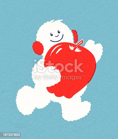 istock Snowman Running With Apple 187337603
