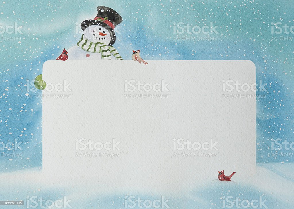 Snowman with a Blank Sign vector art illustration