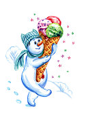 istock A snowman with ice cream 1070683428