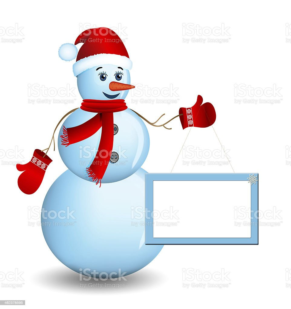 Snowman with santa hat and sign board. vector art illustration