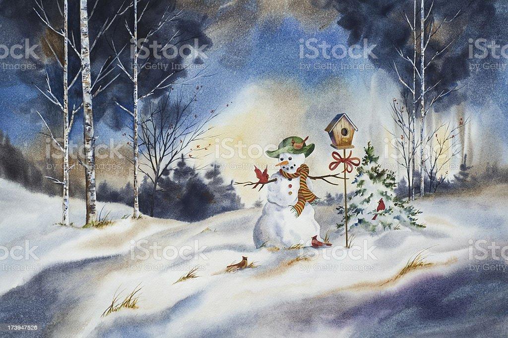 Snowman's Gift to the Birds vector art illustration