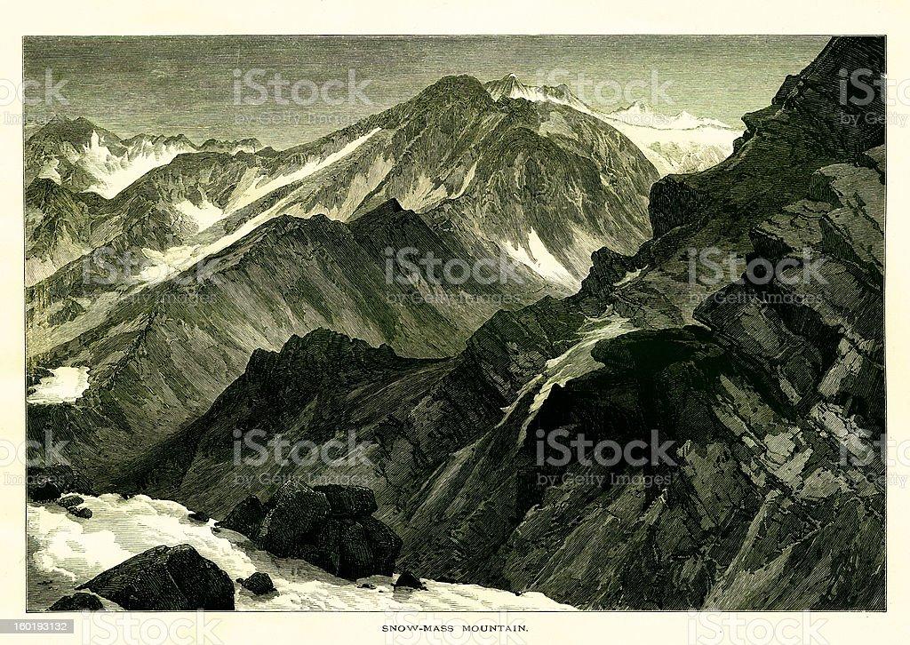 Snowmass Mountain, Colorado royalty-free stock vector art