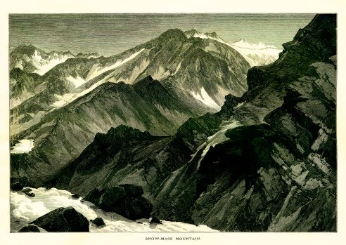 Snowmass Mountain in the Rocky Mountains of the U.S. state of Colorado. Published in Picturesque America or the Land We Live In (D. Appleton & Co., New York, 1872).