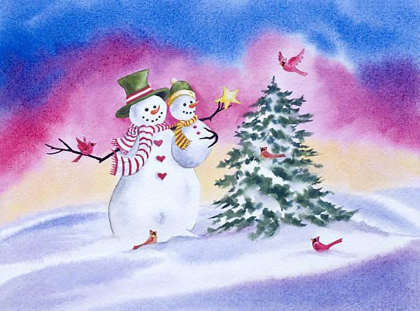Snowmen Placing a Star on the Tree vector art illustration