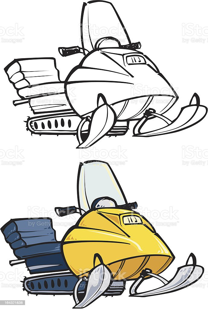 snowmobile vector art illustration