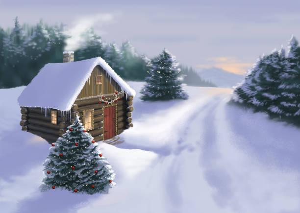 stockillustraties, clipart, cartoons en iconen met besneeuwde kerst cabine - christmas cabin