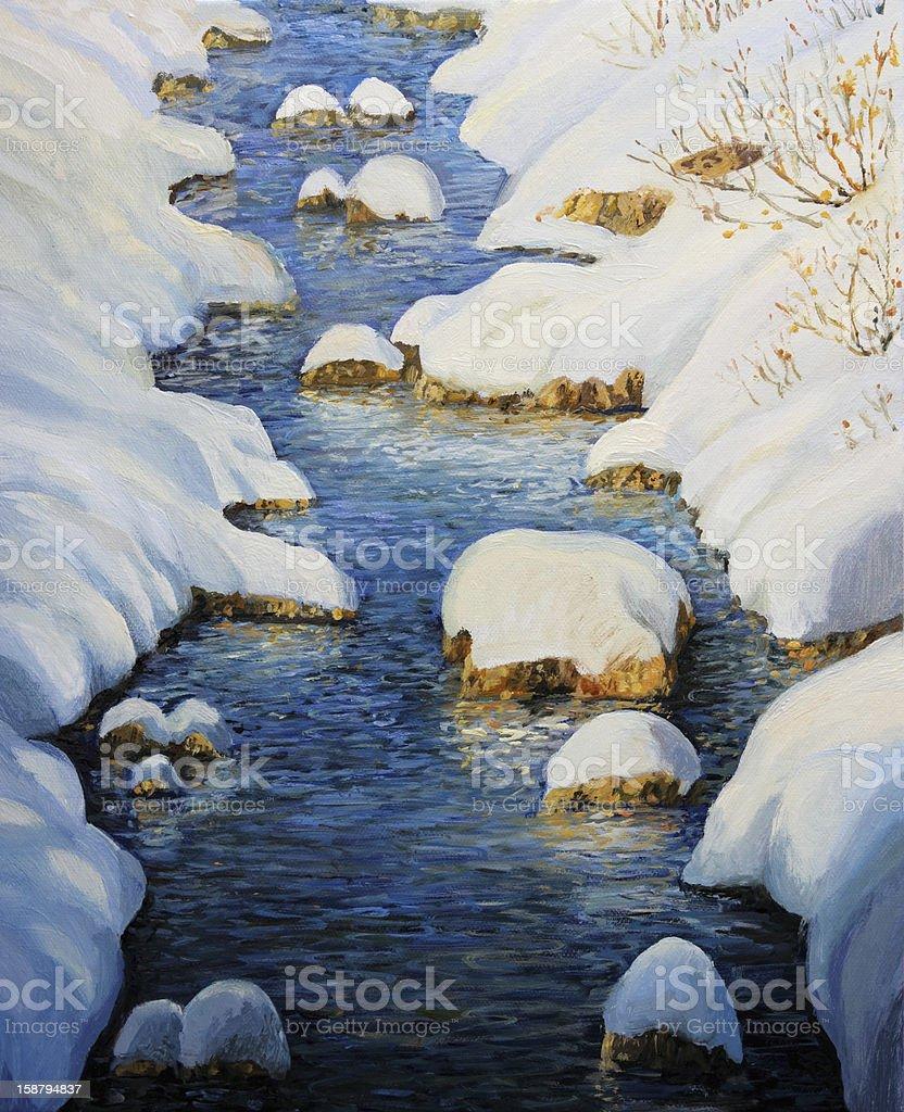 Snowy Fairytale River vector art illustration