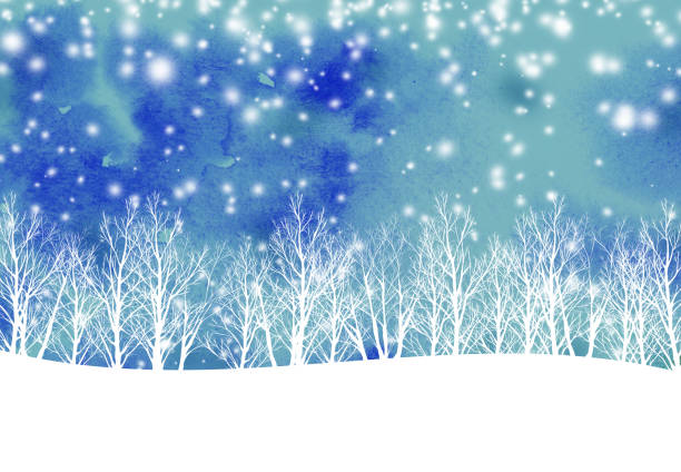snowy forest 2 watercolor texture january stock illustrations