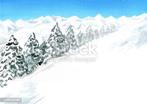 istock Snowy mountain background, winter recreation and vacation concept. Hand drawn watercolor illustration with copy space 1249402067