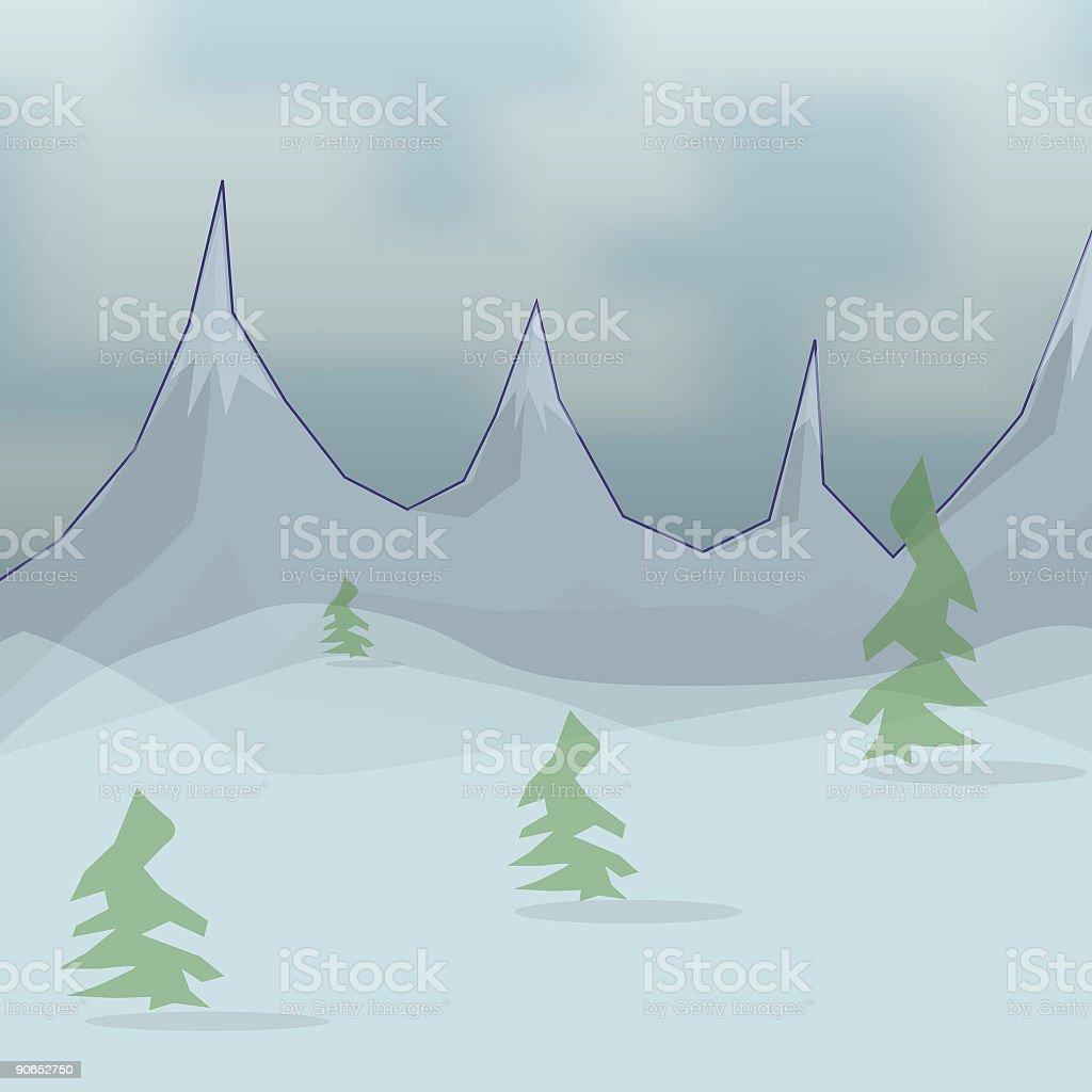 Snowy Mountains vector art illustration
