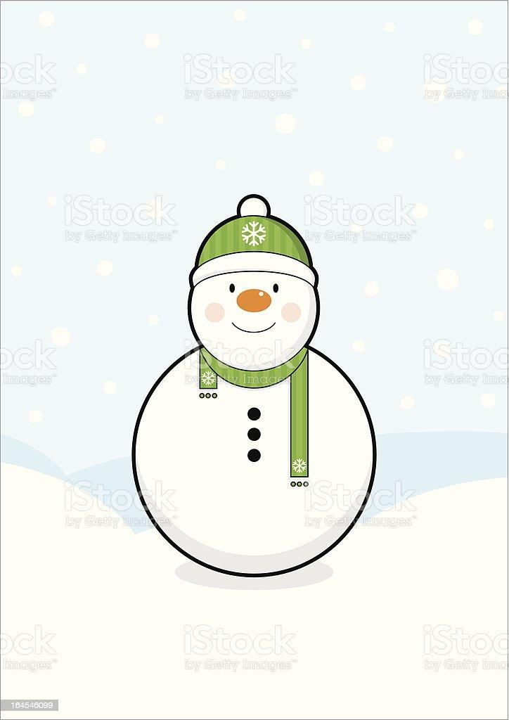 Snowy Snowman Scene royalty-free stock vector art
