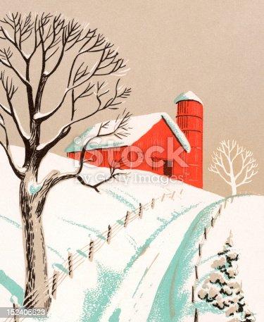 Snowy Winter Farm Scene