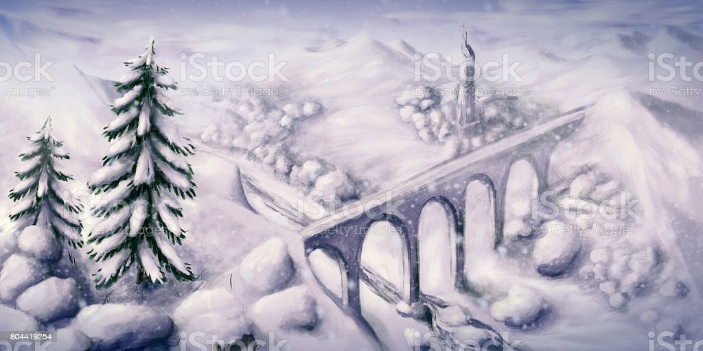 Snowy winter landscape in the mountains during snowfall - Digital Painting vector art illustration