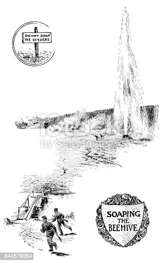 Soaping the Beehive, Yellowstone National Park, Wyoming, USA. Dumping soap into a geyser may cause it to erupt. In Among the Rockies Selections from The Youth's Companion No 11, 1897, Perry Mason & Company
