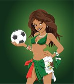"""Vector Illustration of a Mexico soccer fan woman, who is holding a soccer ball. The background is on a separate layer, so you can use the illustration on your own background. The colors in the .eps-file are ready for print (CMYK). Included files: EPS (v8) and Hi-Res JPG."""