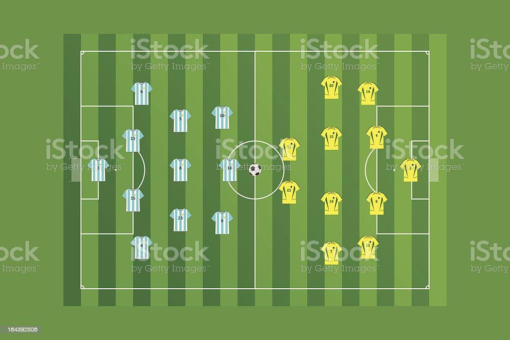 Campo de fútbol con los equipos de diseño. - ilustración de arte vectorial
