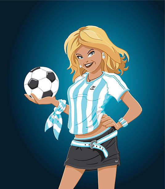 Chica de fútbol de Argentina - ilustración de arte vectorial