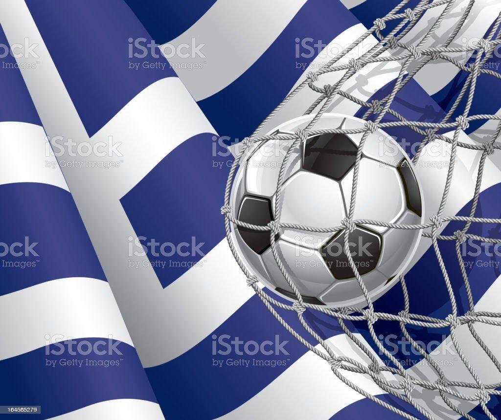 Soccer Goal on Greek flag. royalty-free stock vector art
