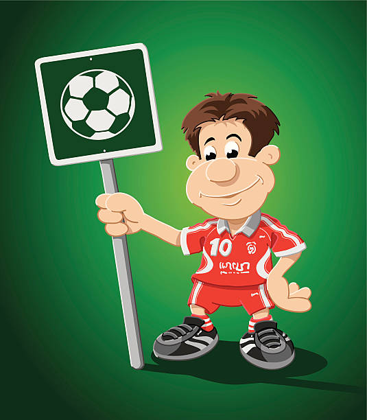 "Soccer Player Cartoon Man Ball Sign ""Vector Illustration of a cartoon soccer player, who is holding a green sign with a soccer ball. The background is on a separate layer, so you can use the illustration on your own background. The colors in the .eps-file are ready for print (CMYK). Included files: EPS (v8) and Hi-Res JPG."" cartoon people sign stock illustrations"