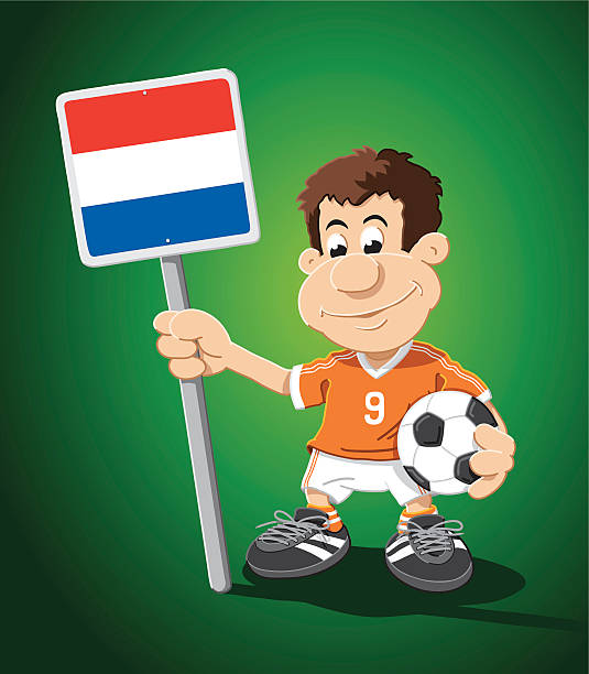 "Soccer Player Netherlands Sign Cartoon Man ""Vector Illustration of a cartoon man, who is holding a Netherlands flag sign and  a soccer ball. The background is on a separate layer, so you can use the illustration on your own background. The colors in the .eps-file are ready for print (CMYK). Included files: EPS (v8) and Hi-Res JPG."" cartoon people sign stock illustrations"