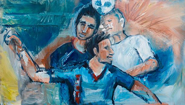 stockillustraties, clipart, cartoons en iconen met soccer players - samen sporten