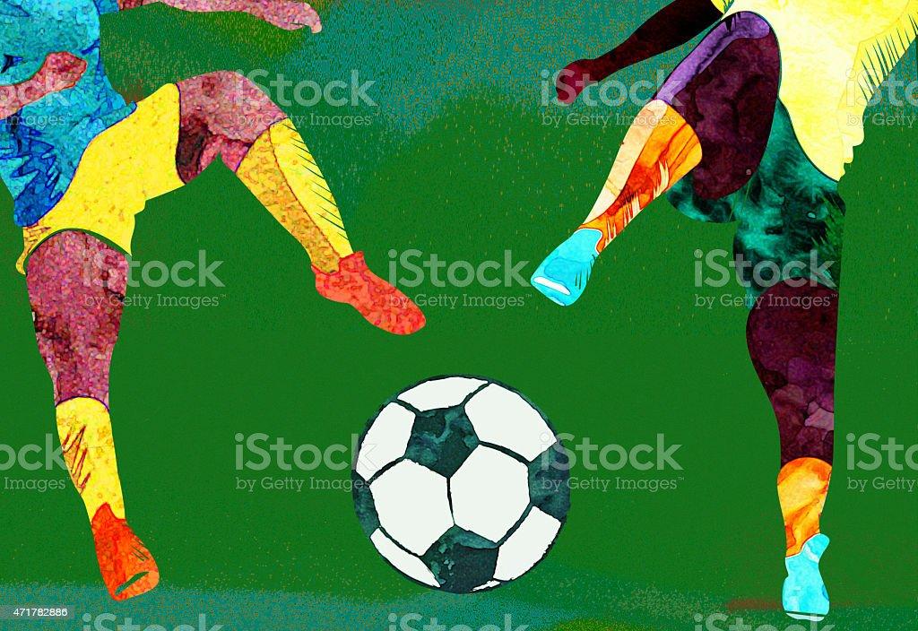 Ilustración de Collage De Agua De Color Escena De Fútbol y más banco ...