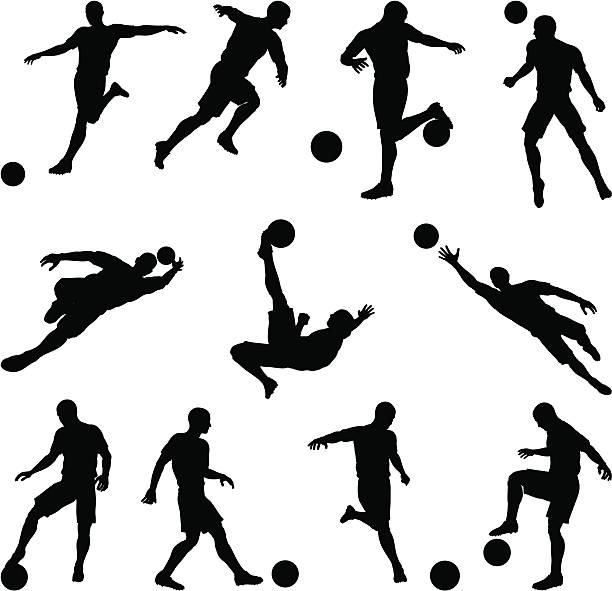 stockillustraties, clipart, cartoons en iconen met soccer silhouettes in motion - soccer player