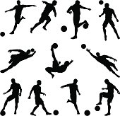 Soccer silhouettes in motion
